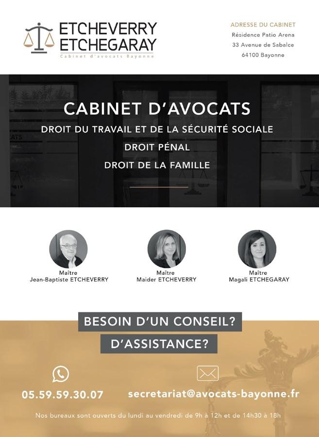 Plaquettes commerciales du cabinet d'avocats ETCHEVERRY-ETCHEGARAY à Bayonne