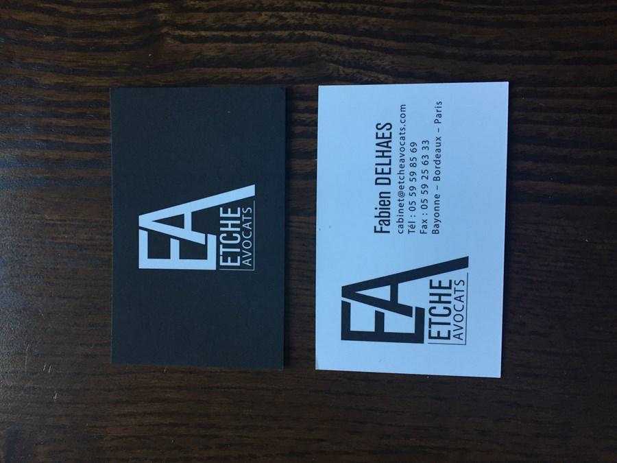 Logo et cartes de visite du cabinet d'avocats ETCHE AVOCATS