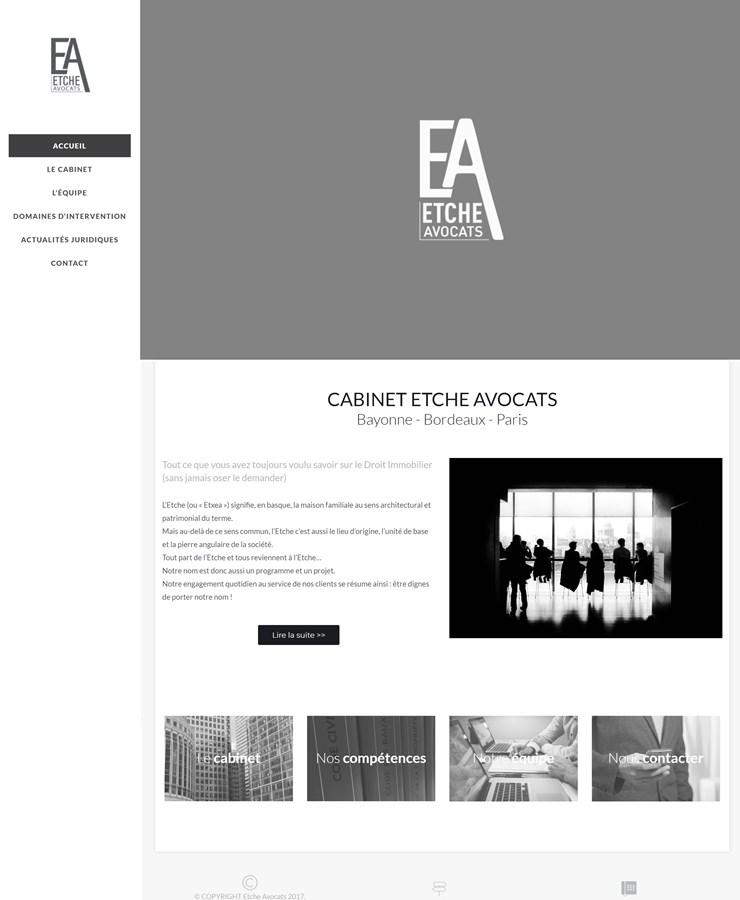 Site vitrine du cabinet Etche Avocats à Bayonne