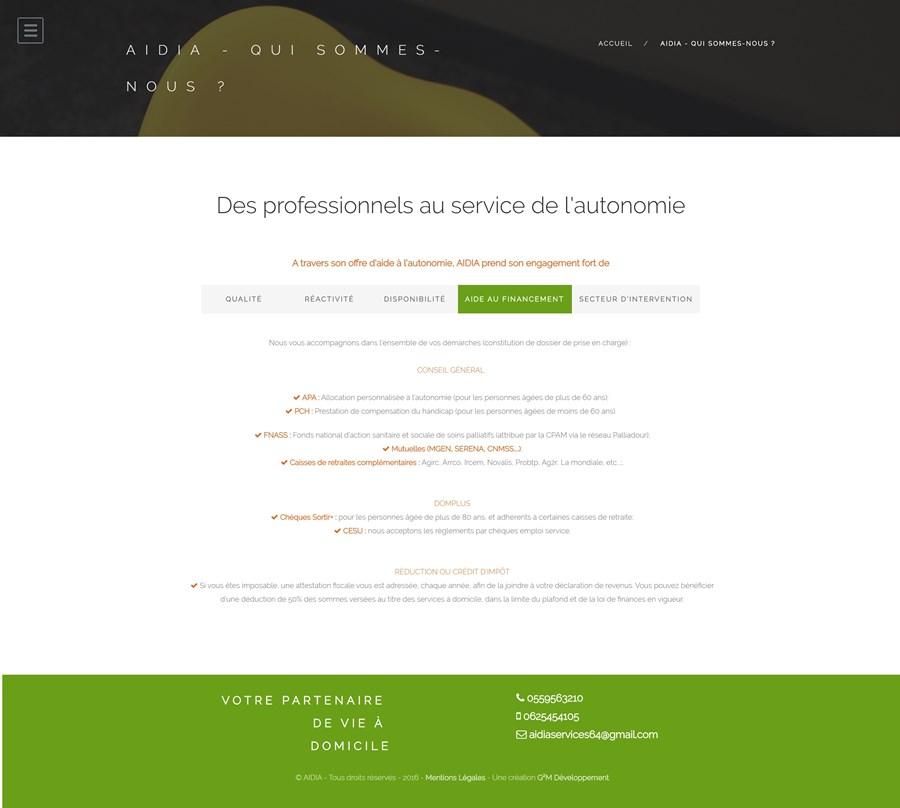 Site instituionnel de l'agence de services à la personne AIDIA
