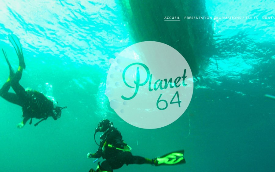 Site institutionnel de l'école de plongée Planet64 à Hendaye