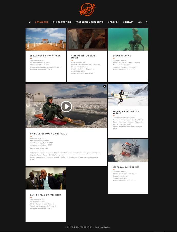 Site vitrine de l'agence de production RIDDIM PRODUCTION