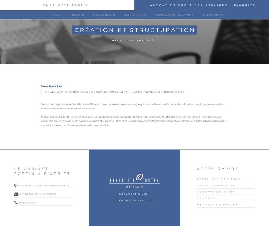 Site vitrine du cabinet d'avocat Fortin à Bayonne