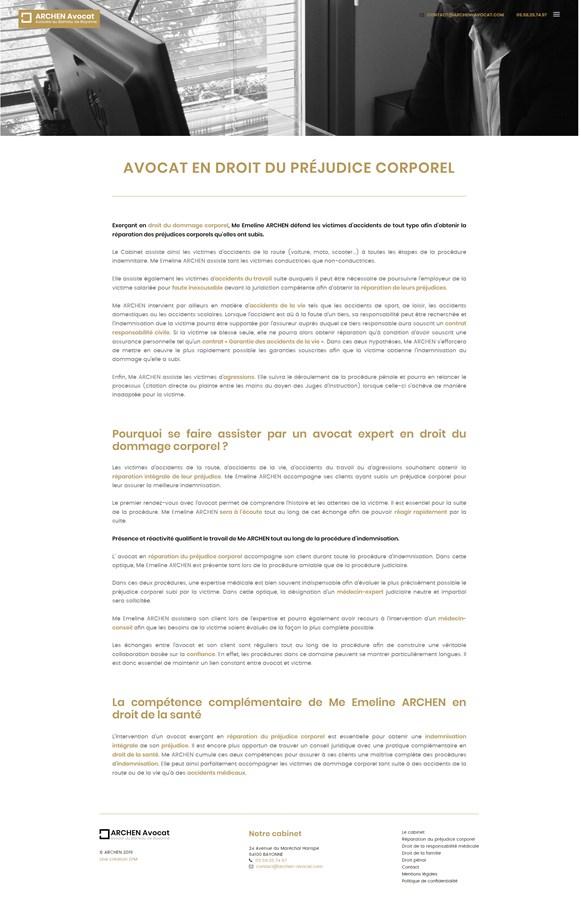 Site vitrine du cabinet d'avocats Archen Avocat à Bayonne