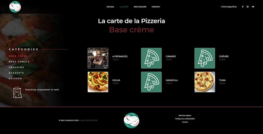 Site vitrine de la pizzeria Bar à Manger à Hendaye