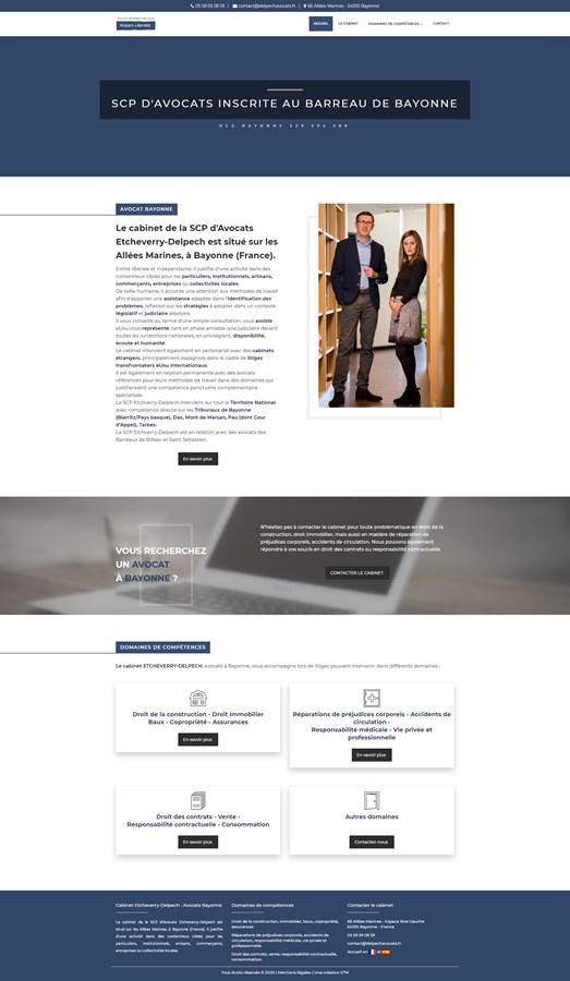 Site vitrine du cabinet d'avocats Etcheverry-Delpech à Bayonne
